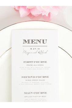 Rose Gold Wedding Menu Card Printable Wedding Menu Personalized