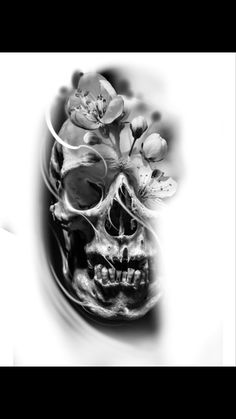 Scary Tattoos, Skull Tattoos, Blossom Tattoo, Black And Grey Tattoos, Cherry Blossom, Tattoo Designs, Mandala, Photoshop, Art