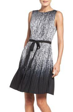 Main Image - Adrianna Papell Pleat Fit & Flare Dress (Regular & Petite)