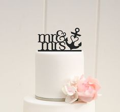CUSTOM MR AND MRS WITH HEART ANCHOR WEDDING CAKE TOPPER    PLEASE NOTE: We love to allow 3-4 weeks for the production of our custom items but