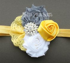 Shabby Chic and Rosette Headband in Grey, White and Yellow with Lace