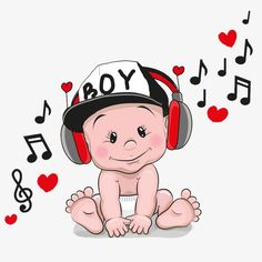 Illustration about Cute cartoon Baby with headphones and a cap. Illustration of card, happiness, notes - 68727080