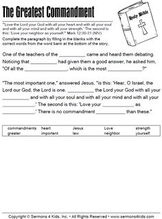 Use the Greatest Commandment Fill in the Blank as a fun activity for your next children's sermon. Learn The Bible, Bible For Kids, How To Memorize Things, School Lessons, Lessons For Kids, Sunday School Projects, Bible Study Lessons, Greatest Commandment, Childrens Sermons