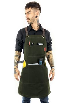 Waxed Canvas, Canvas Leather, Cotton Canvas, Work Aprons, Stark, Cool Things To Buy, Shopping, Tool Apron, Restaurant Uniforms