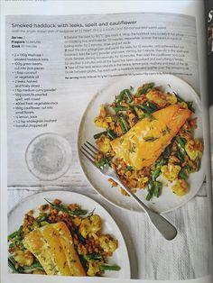 Smoked haddock with leeks, spelt and cauliflower