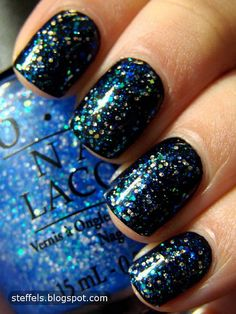 OPI Last Friday Night over Black (who doesn't love GLITTER?!)