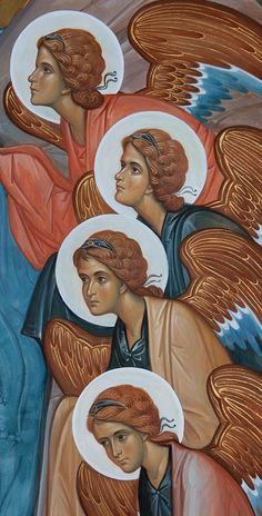 Detail of Angels from a Theophany icon.