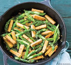 Asparagus Tofu StirFry from Yoga Journal -- #GF #vegan (use GF soy sauce, only tofu - no seitan!)