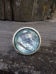 Silver Statement Ring with Faceted Icy Blue Stone by mntnmommy