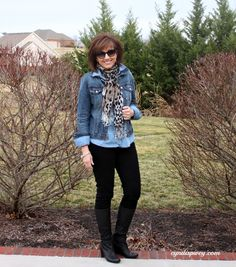 What I Wore-My Style  (chambray shirt with denim jacket - never would have thought of this...)   scarf from Target