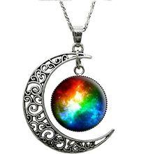 Amazon.com: Women Fashion Crescent Moon Pendant Necklace Charm Sky Galaxy Universe Time Gem Necklace (Type1): Sports & Outdoors
