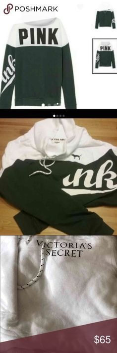 NWT VS Pink cowl neck sz large or L // forest ivy olive green black and white // cowl neck // color block // vs victoria's secret pink // new in online packaging! PINK Victoria's Secret Tops Sweatshirts & Hoodies