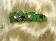 Sea Glass Barrette for the Holiday Season by oceansbounty on Etsy, $12.00