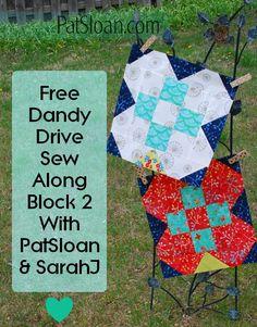 Free Flower quilt Pat Sloan Dandy Drive Block http://blog.patsloan.com/2017/04/free-sew-along-dandy-drive-block-2.html