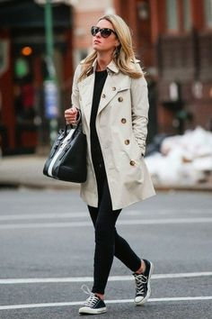 This pairs two of my favorite things - trench coats and converse!