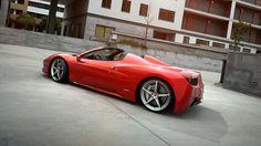Red Ferrari 458 Spider rendered in KeyShot by Tim Feher.