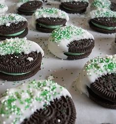 Oreo's dipped in peppermint white chocolate