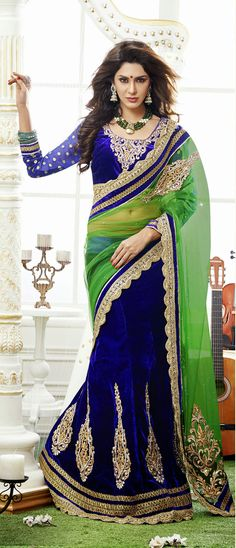 Green and Blue Embroidered Velvet Lehenga Saree 29103