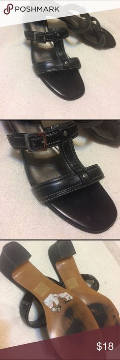 Great condition, patent leather dress sandals Anne Klein Size 8.5 patent leather sandals. Small heel. Shoes Sandals