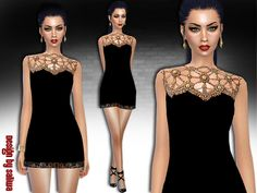 The Sims Resource: Embellished Pure Dress by Saliwa � Sims 4 Downloads