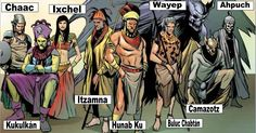 Mayan Gods and Goddesses - a modern rendering from Marvel story arc about the pantheons of gods around the world at war Mythological Creatures, Mythical Creatures, World Mythology, Comic Book Superheroes, Comic Books, Anthropologie, Marvel, World Religions, God Of War