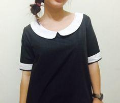 Black + white peterpan collar dress, black mod dress, shift dress, 1960's inspired dress
