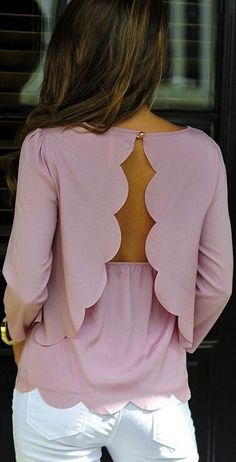 Open Back Backless Three Quarter Sleeves Chiffon Blouse | GonChas