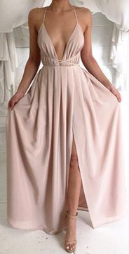 Sexy Prom Dress, V-Neck Chiffon Prom Dresses, Long Open Backs Evening Gowns