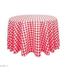 Round Red And White Checkered Tablecloths
