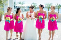 Hot Pink Bridesmaid Dresses Davids Bridal