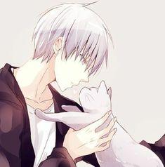 Boys and cat white japanese cartoon, kuroko, anime boys, anime art, fanart Anime Sexy, Hot Anime Boy, Boys Anime, Cute Anime Guys, Anime Cat Boy, Anime Chibi, Art Manga, Chica Anime Manga, Manga Boy