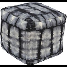 13 Smoky Gray and Night Black Tiedyed Wool Square Pouf Ottoman * For more information, visit image link.