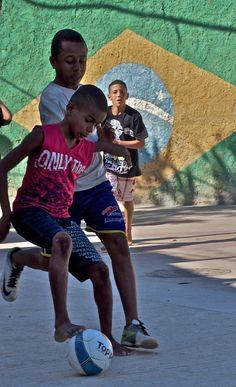Kids playing soccer in a Favela, Rio de Janeiro, Brazil