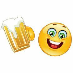 Emoticon with beer vector image on VectorStock Smiley Emoticon, Emoticon Faces, Funny Emoji Faces, Emoji Symbols, Emoji Stickers, Smile Face, Funny Cartoons, Drinking, Beer