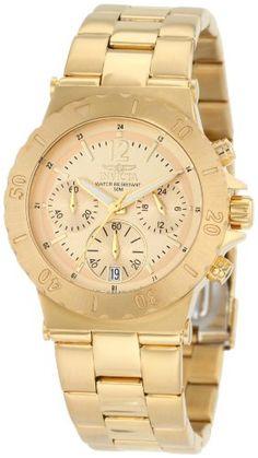 Invicta Damen 1276 Chronograph 18k Gold Ion-Plated Edelstahl-Uhr - http://uhr.haus/invicta/invicta-damen-1276-chronograph-18k-gold-ion-uhr