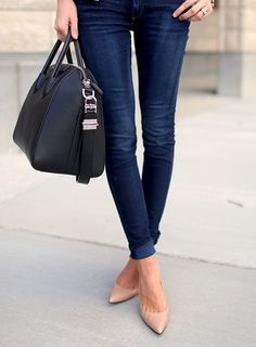 skinnies + nude shoes