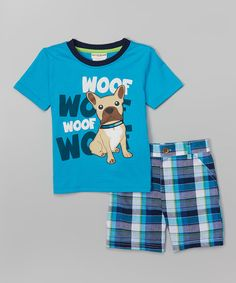 Buster Brown Blue 'Woof Woof' Tee & Plaid Shorts | zulily