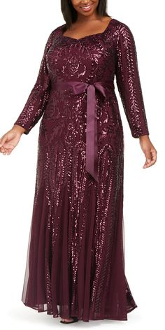 R & M Richards Plus Size Godet Sequin Gown - Burgundy Plus Size Gowns, Plus Size Party Dresses, Dresser, High Low Gown, Sequin Gown, Plus Size Designers, Satin Skirt, Gowns Online, Groom Dress