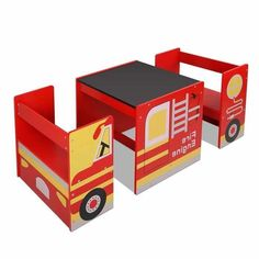 Featured with fire truck concept, this Kids Table & Chair Set consists of two chairs and a blackboard top table. Besides the routine reading, this table can be used for playing puzzles, boards games, doing craft work and snacks or dinner. Kids Table Chair Set, Kid Table, Home Depot Adirondack Chairs, Plastic Adirondack Chairs, Kids Furniture Sets, Furniture Online, Furniture Stores, Kids Recliner Chair, Chair Cushions