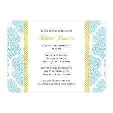 Paisley Damask Bridal Shower Invitations