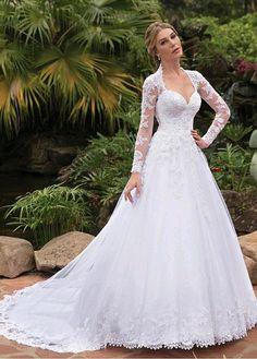 524aa435477  235.50  Fantastic Tulle Queen Anne Neckline A-line Wedding Dresses With  Lace Appliques   Beadings