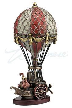 Steampunk-Hot-Air-Balloon-Stone-Resin-Statue-975-Inch-Tall-0
