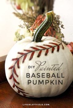 Painted Baseball Pumpkin: This cool and creative pumpkin is a guaranteed home run. Click through to find more easy painted pumpkin ideas to try this Halloween. Holidays Halloween, Halloween Treats, Halloween Diy, Vintage Halloween, Halloween Decorations, Fall Decorations, Halloween Games, Halloween Birthday, Halloween 2017