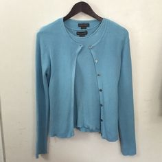 Banana Republic 2 Piece Light Blue Cardigan & Top Baby blue cardigan with silver gray buttons long sleeved, comes with a sleeveless blue top that goes along with it, both are size medium,  both are so cute and can be worn multiple ways! Banana Republic Sweaters Cardigans