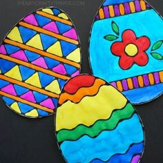 Kids of all ages will love creating this Easter egg black glue art project. Make several for a colorful Easter art project and string them together to make a vibrant Easter banner. Get our Easter egg templates to make prep time for this black glue art project a breeze.
