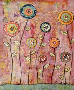 Mixed media flowers. --possible embroidery project: lose the colors and go for more neutrals, linen background, antique button centers. straighten the stems...