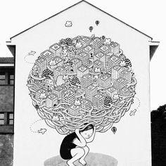"""Zoom sur le street artiste italien Millo sur le site du doolittle.fr #millo #streetart #blackandwhite #doolittlemagazine """