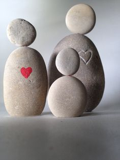 Zen stone figures with heart, hand engraved or hand painted -child needs a heart head, or to be holding a heart
