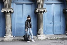 blue // Mirjam from www.jeneregretterien.ch is wearing Ganni leather jacket, LEVIS CT Jeans, & OTHER STORIES knit, H&M Fedora, & OTHER STORIES bag, ADIDAS Stan Smiths, Celine Pretty sunnies