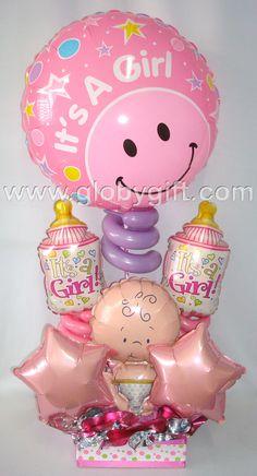 Arreglo de globos de maternidad, para darle la bienvenida a la bebé